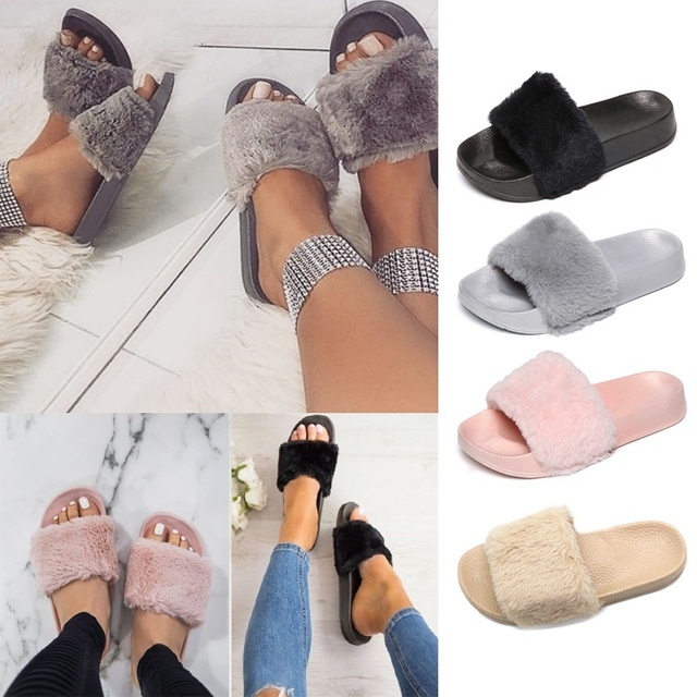 New Women Fashion Soft Plush Solid Color Flip Flops Outdoor & Indoor Slippers Flat Shoes