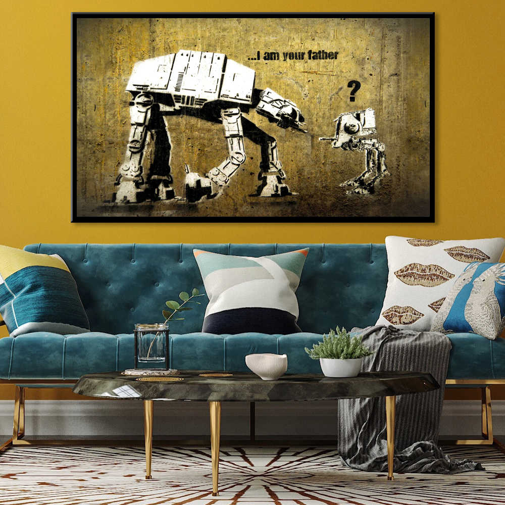 Banksy Robot I Am Your Father Posters And Prints Canvas Painting Fine Scandinavian Wall Art Picture For Living Room Home Decor