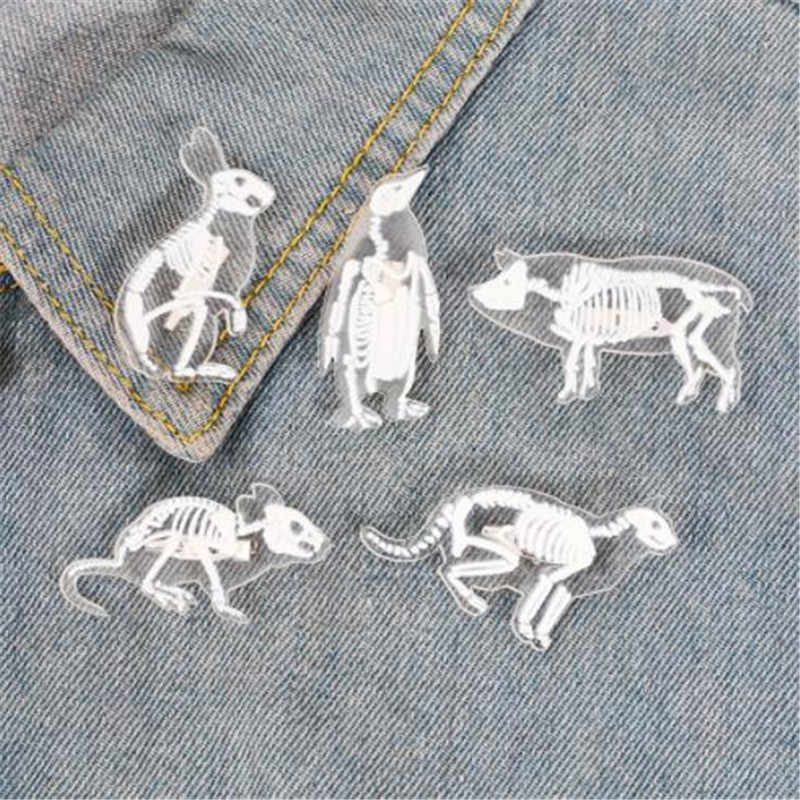 Wkoud Kreatif Akrilik Transparan Hewan Kerangka Pin Bros Mouse Kelinci Penguin Burung Babi Kucing Bros untuk Tas Lencana Perhiasan