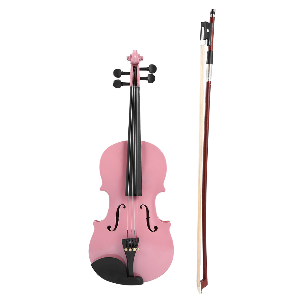 1/8 Size Gloss Natural Acoustic Violin Fiddle With Case Bow Rosin Musical Instrument Pink Blue Black 2019 New Dropshipping