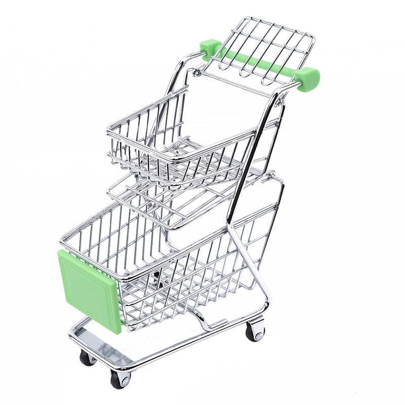Panas Kreatif Double-Deck Lipat Keranjang Belanja Keranjang Mainan Mini Supermarket Gerobak Sorong Roda Kereta Belanja Mainan untuk Anak-anak