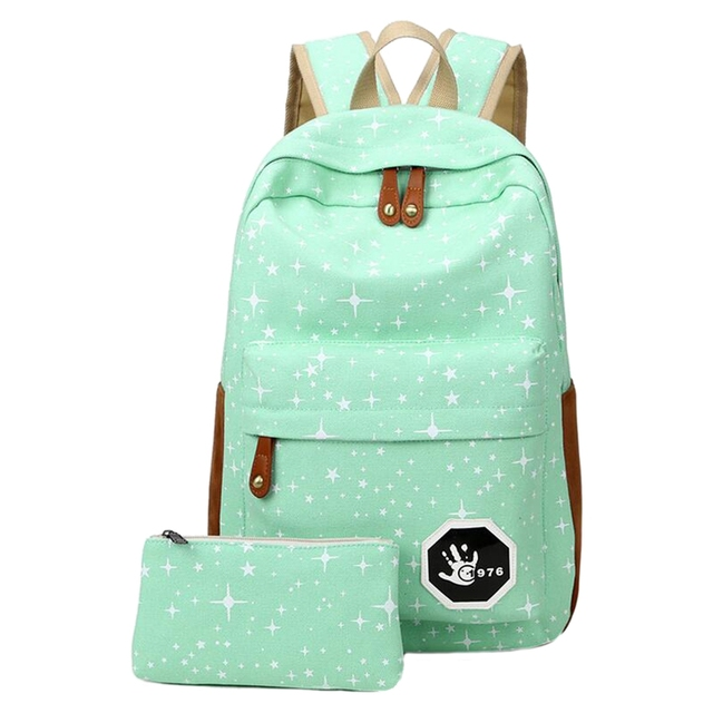 2 pcs/set Fashion Cute Star Women Men Canvas Printing Backpack School Bag For girl Teenagers Casual Travel bag 3