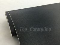1 52x20m Roll Car Styling Black Metallic Brushed Aluminum Vinyl Car Wrap Film With Air Release