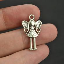 30 шт 25*14 мм античные серебряные сплава шармы подвеска в форме ангелов ювелирных изделий 3337A
