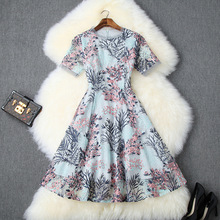 Summer Dress 2019 Women's Fashion Floral And Grass Embroidered Round Neck Short Sleeves Slim A-Line Elegant Mesh Dress S-XL floral print round neck half sleeves vacation a line dress