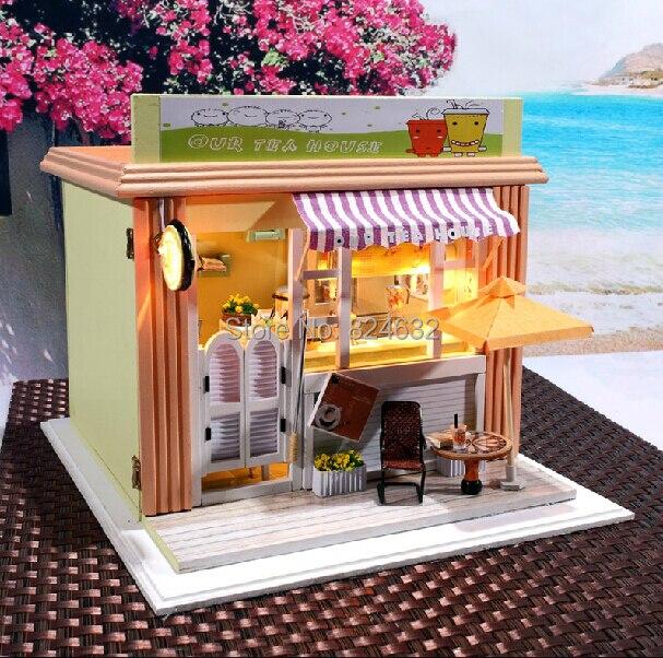 Nouveauté bricolage à la main cabine jouet magasins de thé/café modèle bâtiment kints/3D puzzle/cadeau d'anniversaire avec musique et lumière