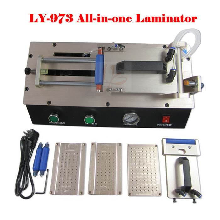 LY 973 V.3 all in one semi-Auto Vacuum OCA film laminator 220V/110V with 4 moulds universal S6 S6+ S7 Edge perfect oca laminator ly 9100 for 7 inch desktop 3 in 1 multi functions layer free tax to europe