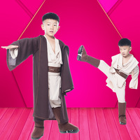 Hot Sale Boys Star Wars Deluxe Jedi Warrior Movie Character Cosplay Costumes Obi Wan Kenobi Costume