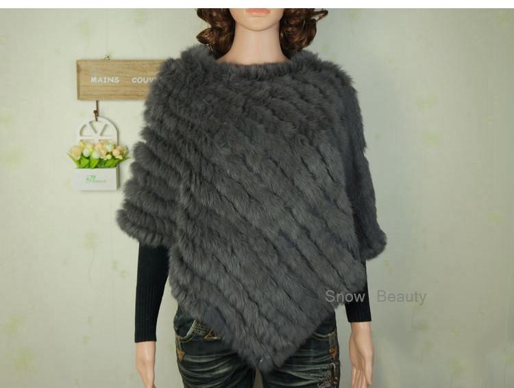 natural real knitted rabbit fur poncho shawl (26)