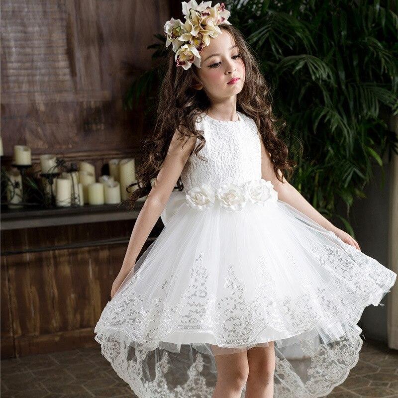 HAPPYPLUS Wedding Dress Girl Long White Flower Girl Dress