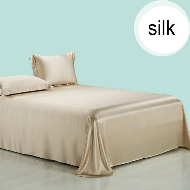 19m/m Silk Flat Sheets Sets 1 pcs king queen twin multicolor silk bedding