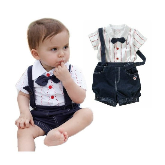 8f1b80ee397c Hot 2pcs Baby Boy Clothes Ropa de Bebe Infant Children Kids Gentleman  Toddler Top T-shirt+Overalls Bib Pants Shorts Set Outfit