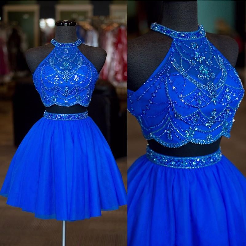Real Photos Halter Neck Beaded Rhinestone Two Pieces Homecoming Dresses 2018 Sexy Backless A Line Tulle Short Prom Dresses