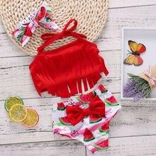 Купальный костюм для девочек; летняя одежда для купания для маленьких девочек; милый комплект бикини с кисточками для маленьких девочек; купальник с фруктовым принтом; купальный костюм; SS