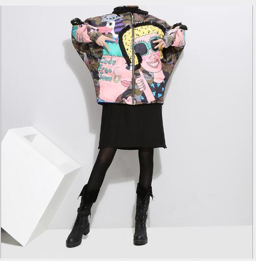 Casual À Nouveau Veste Zipper Color Lâche cou Manches Mode Manteau Femme Longues Parka Impression O Up 2018 Manteaux Coton Hiver Femmes wOtpqp
