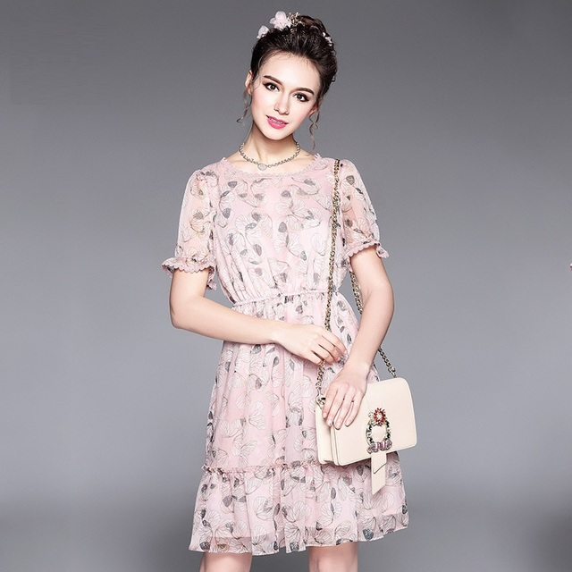 New2017 Women Summer Chiffon Dress Plus Size Floral Printed Elegant
