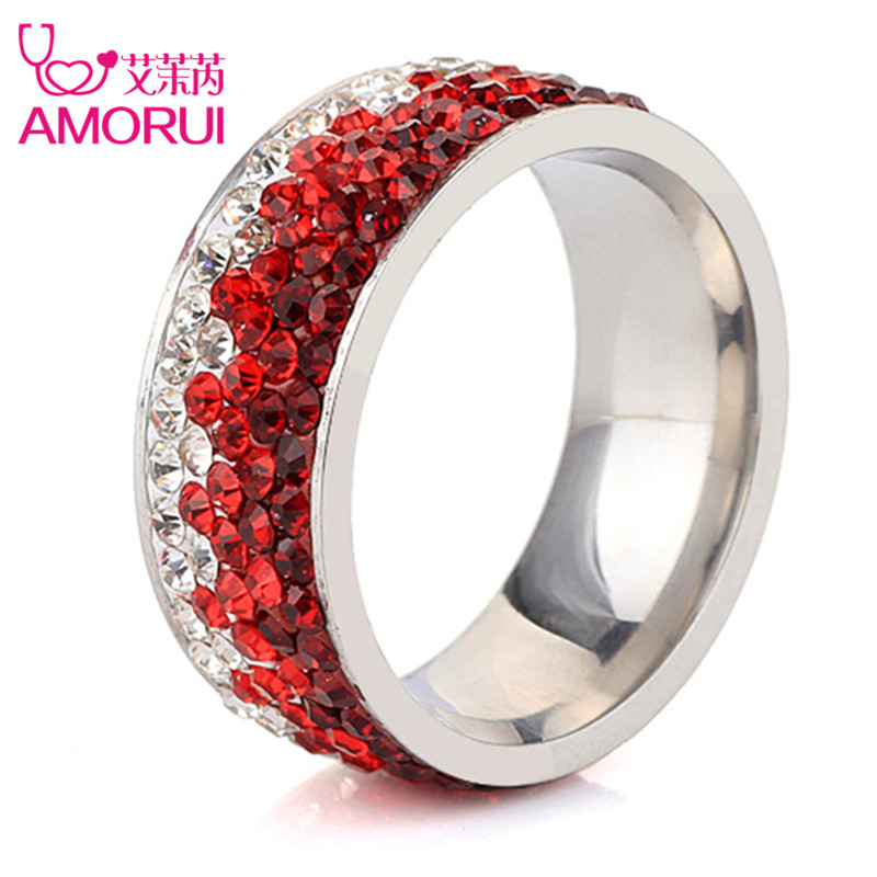AMORUI moda gradiente Zircon partido anillo Glamour Corea Acero de titanio compromiso/anillos de boda para las mujeres joyería regalos