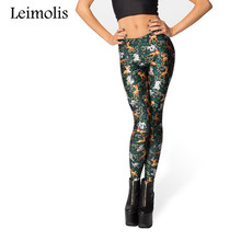 цены Spring Tenths adventure time punk rock hara u black milk push up fitness sexy 3d print jungle animals deer women leggings sports