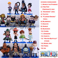 Free Shipping Mini 3 One Piece All 16 Division Commander Of Whitebeard Pirates PVC Action Figures