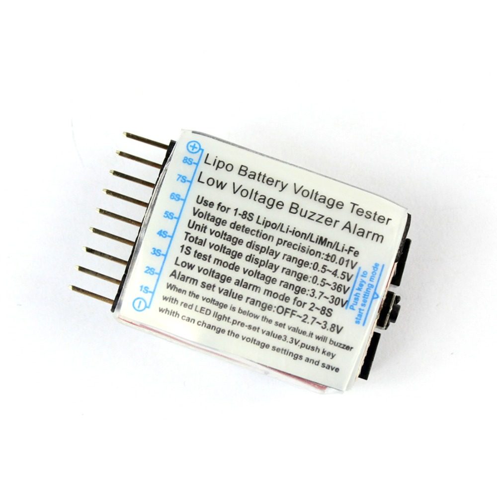 <font><b>Lipo</b></font> <font><b>Battery</b></font> Voltage Tester Buzzer Volt Meter Indicator Checker Dual Speaker 1S-8S Low Voltage Alarm 2in1 2S <font><b>3S</b></font> 4S 8S F00872