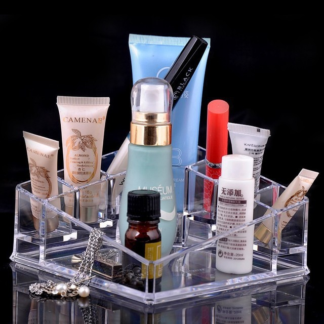 8 Grids Transparent Crystal Acrylic Makeup Display Stand For Cosmetics Lipstick Brush Nail Polish Birthday Gifts Lady Girls