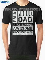 Gildan Teeplaza Logo T Shirts Crew Neck Short Sleeve Printing Proud Dad Of A Freaking Awesome