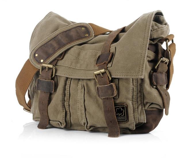 TEXU Men messenger bags canvas leather big shoulder bag famous designer brands high quality mens travel bags high quality