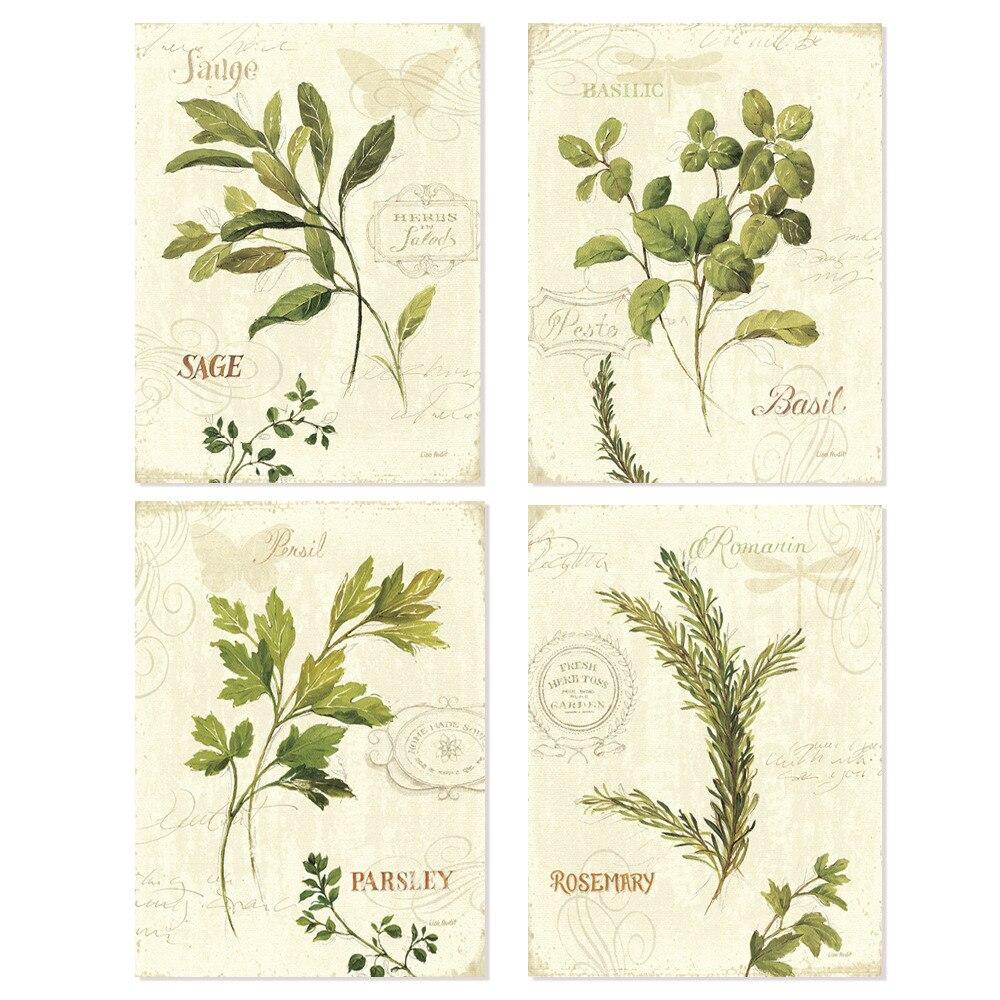 Vintage Hijau daun aromatique gaya cat air art cetakan 4 in 1 / siap - Dekorasi rumah