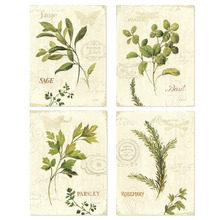 Vintage Green leaves aromatique watercolor style art prints 4 in 1/ready for framed art or poster frame/wall deocor