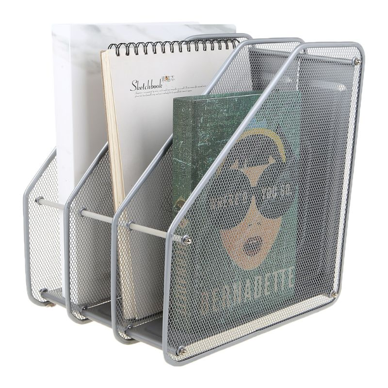 3 Column Metal Mesh Document Rack File Holder Letter Magazine Newspaper Tray For Home Office Desk Organizer Supplies