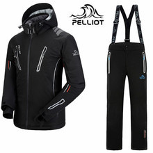 DHL FREE 2016 Pelliot brand ski suit men snowboard jacket + pants men waterproof,breathable thermal cotton-padded super warm