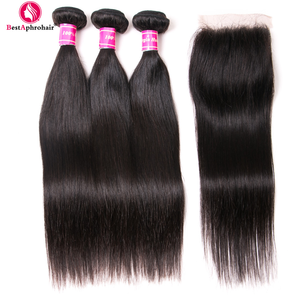 Aphro Brazilian Straight Hair Bundles With Closure Non Remy Brazilian Human Hair Weave 3 Bundles With
