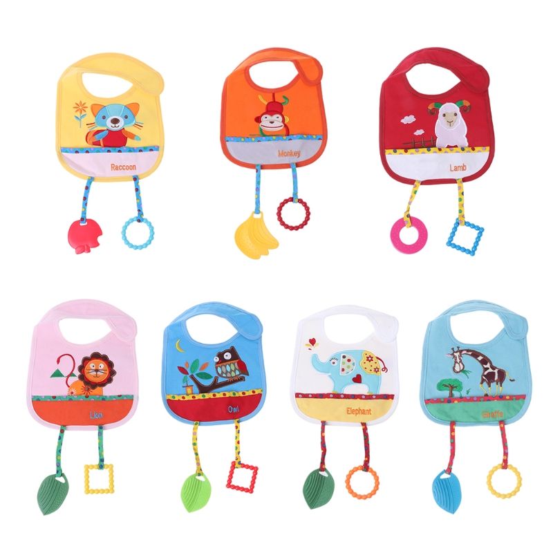 Baby Bibs With Silicone Teether Animal Cartoon Cute Blend Cotton Feeding Towels