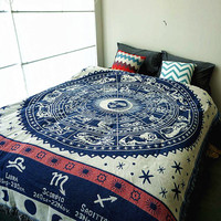 12 Constellations Vintage Thick cotton blanket carpet thick rural style Double sided bed cover sofa towel wall Tapestry