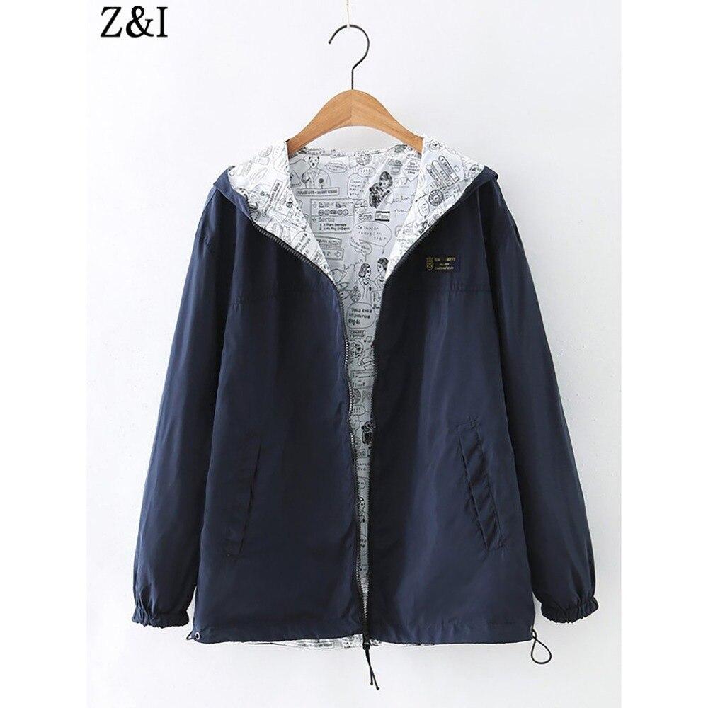 Bran Autumn Women Bomber   Basic     Jacket   Pocket Zipper Hooded Two Side Wear Cartoon Print Outwear Loose Coat Feminino Coats Outwear