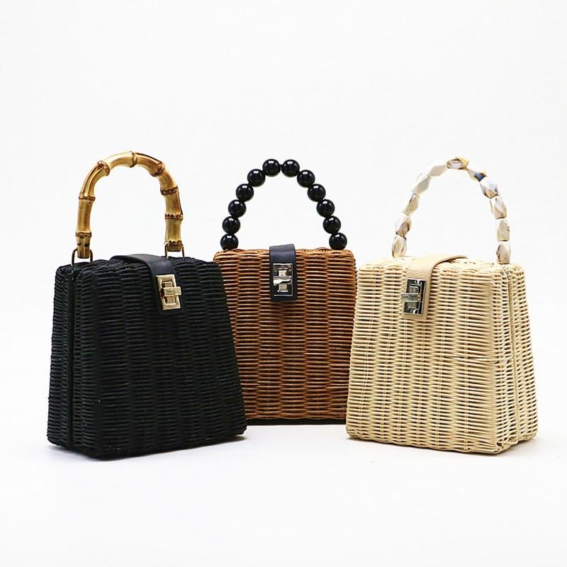 Small Box Beads Black White Straw Bag Portable Messenger Handmade Beach Bag