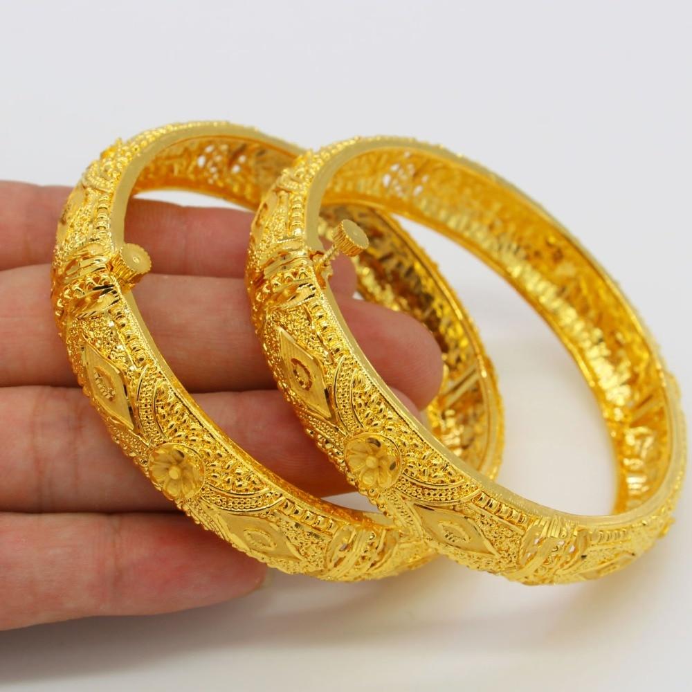 THREE SIZE Dubai Gold Bangles Women Men 24k Gold Color ...