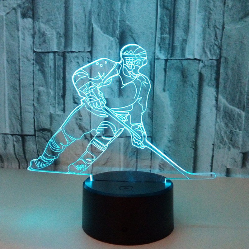 Colorful Touch 3d Led Night Light Hockey Lamp USB Illusion Atmosphere Table Lamp For Children Baby Kids Gift Bedside Bedroom