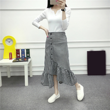 Summer Ladies Fashion High Waist Skirt Women Black White Plaid Long Skirts Check Gingham Midi Ruffled Female Spring Hot
