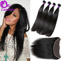 Top 8A Brazilian Virgin Hair With Closure Straight Hair With Closure Ear To Ear Lace Frontal Closure With 4Bundles Human Hair