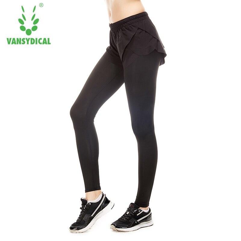 ①  Женские спортивные брюки Упругий пояс Йога брюки 2 в 1 Спортивные брюки Активные леггинсы-капри Спор ★