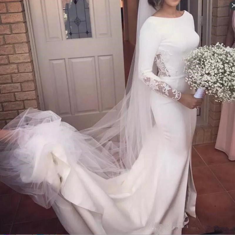 Vintage Long Sleeves Beach Mermaid Bridal Gowns Backless Split Long Bridesmaid Dresses