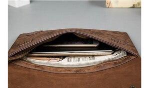 Image 5 - Vintage PU Leather Men Handbag Leisure Mens Bag Business Messenger Bags Portable Briefcase Laptop Package Slim Handbags Male