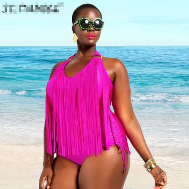 4649679e9c8 Plump Women Plus Size Oversized one-piece tassels sexy neon color Halter  swimsuit fringed ladies swimwear Brazil Beachwear XXXL