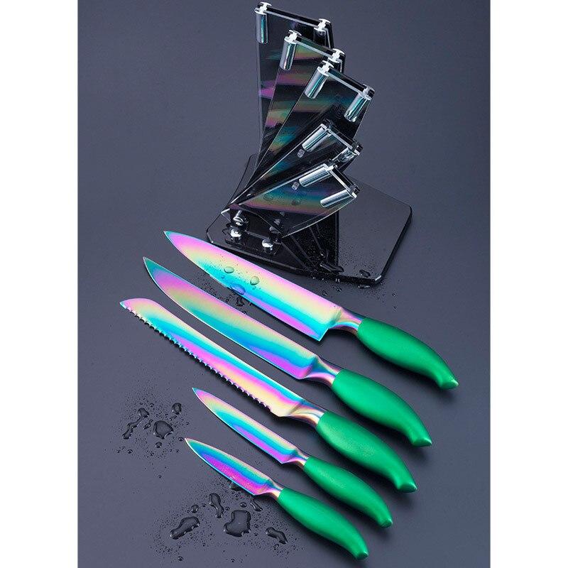 online shop 5 pcs knife set, colorful titanium layer blade kitchen