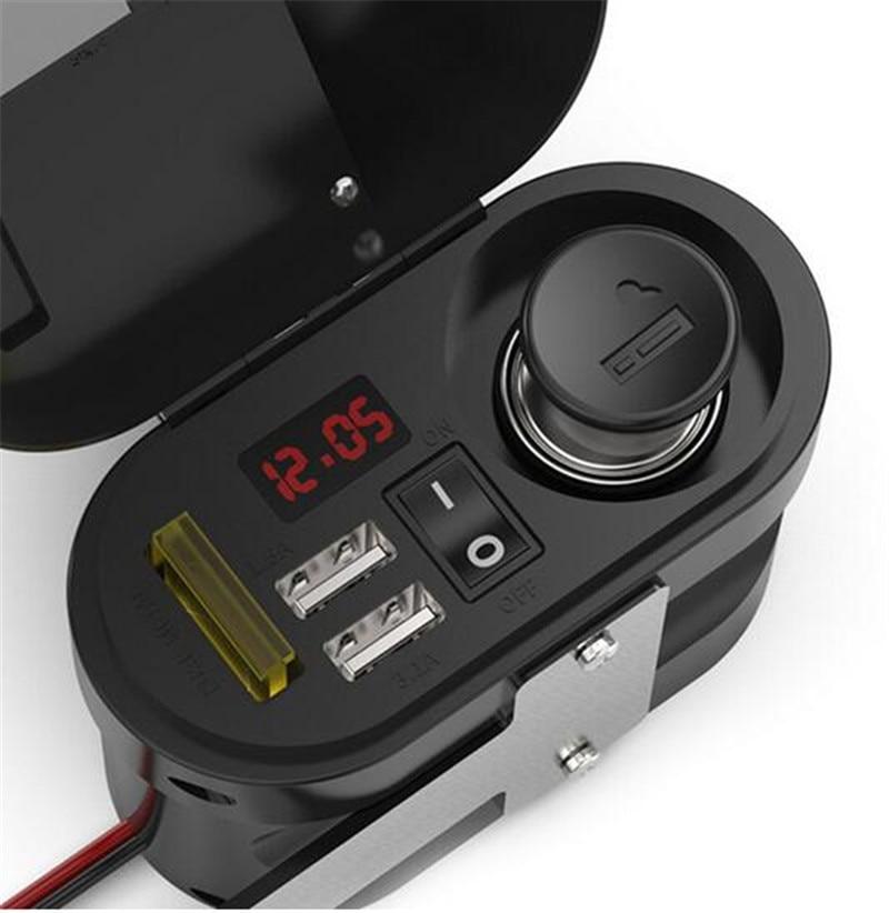 Motorcycle Waterproof Charger Power Socket 5V 3.1A Dual USB Outlet Switch Car LED Digital Display Voltmeter Cigarette Lighter