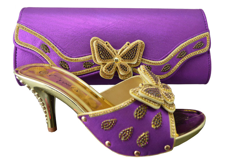 1308-L38 Purple shoes for wedding dress,High quality PU material for Italian design shoes with matching bag set