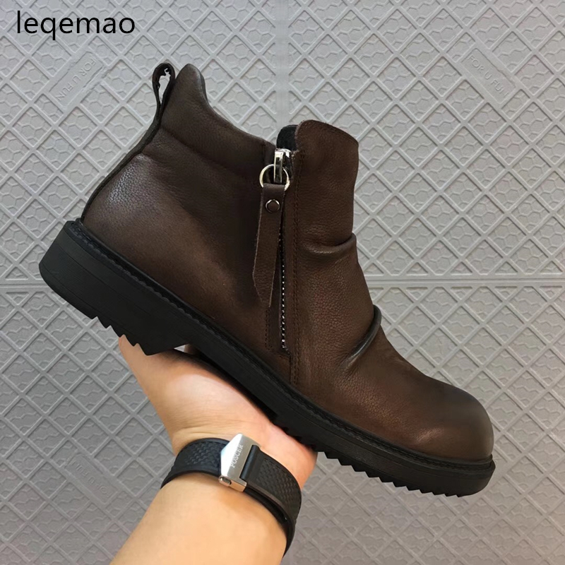 New Men Boots Arrival Basic High-Top Genuine Leather Luxury Trainers Winter Men Warm Fur Snow Boots Zip Flats Black Brown Shoes hot sale men basic black winter warm fur shoes high top nuduck genuine leather luxury brand ankle snow boots flats size 38 44