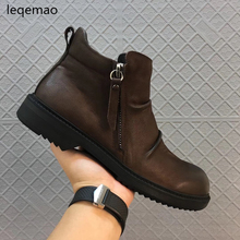 Shoes - Mens Shoes - New Men Boots Arrival Basic High-Top Genuine Leather Luxury Trainers Winter Men Warm Fur Snow Boots Zip Flats Black Brown Shoes
