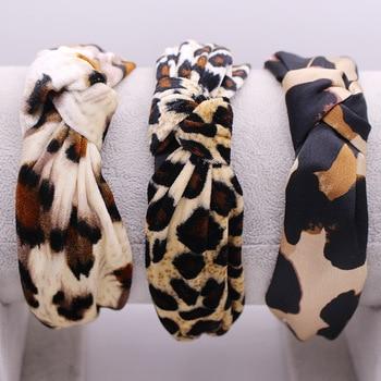 Bohemian Velvet Leopard Knot Hairband Ladies ethnic Geometric Pattern Knotted  customized Hair Accessories - sale item Headwear